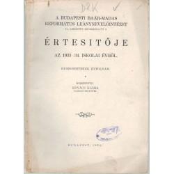 Budapesti Baár-Madas Ref. Leánynevelőintézet  értesítője 1933-1934