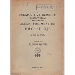 Budapesti VII.ker. Barcsay utcai Állami Főgimnázium értesítője 1920-1921