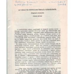 Az uráli és finnugor őshaza kérdéséről (dedikált)
