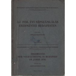 Az 1930. évi népszámlálás eredményei Budapesten I. rész
