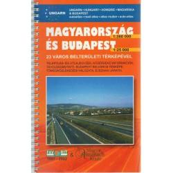 Magyarország (1:360 000) és Budapest (1:25 000) autóatlasz - 23 város belterületi térképével