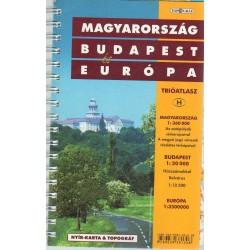 Magyarország (1:360 000) - Budapest (1:20 000) - Európa (1:3 500 000) trióatlasz