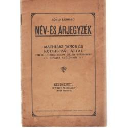 Név- és árjegyzék (ritka kecskeméti szőlészeti mű, 1927)