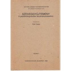 Szövegyűjtemény a pszicholingvisztika tanulmányozásához