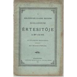Kolozsvári evang. ref. kollégium értesítője 1894-1895