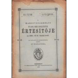 Marosvásárhelyi Ev.Református Kollegium értesítője 1886-1887