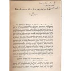 Betrachtungen über den ungarischen Reim (dedikált)