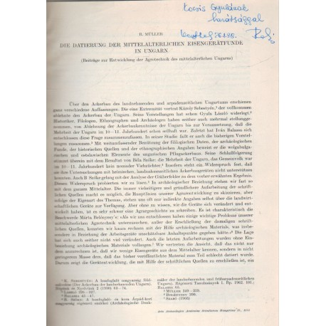 Die Datierung Der Mittelalterlichen Eisengeratfunde in ungarn (dedikált)