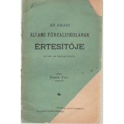 Az Aradi Állami Főreáliskolának Értesítője az 1891-92. iskolai évről