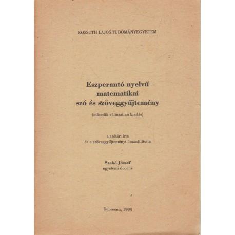 Eszperantó nyelvű matematikai szó és szöveggyűjtemény