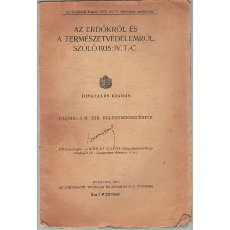 Az erdőkről és a természetvédelemről szóló 1935: IV. T.-C.