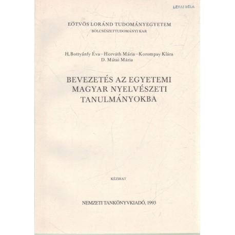 Bevezetés az egetemi magyar nyelvészeti tanulmányokba