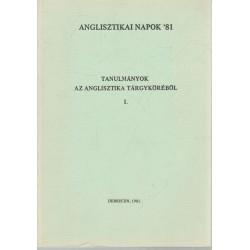 Tanulmányok az anglisztika tárgyköréből I.