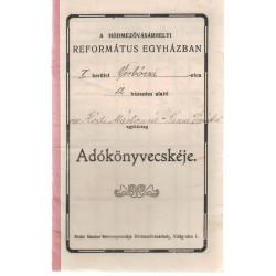 A hódmezővásárhelyi Református Egyház adókönyvecskéje